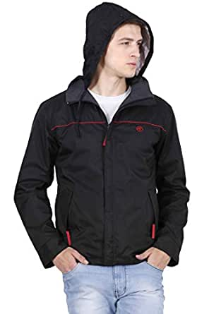 Forest Club | Water Resistant | Reversible | Light Weight | Jacket for Men with Hood | (Slim FIT) Black