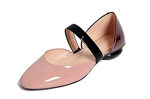 NobS Cuir Couleurs Matching Round Toe Hollow Mary Jane Chaussures plates Sandales simples Pink