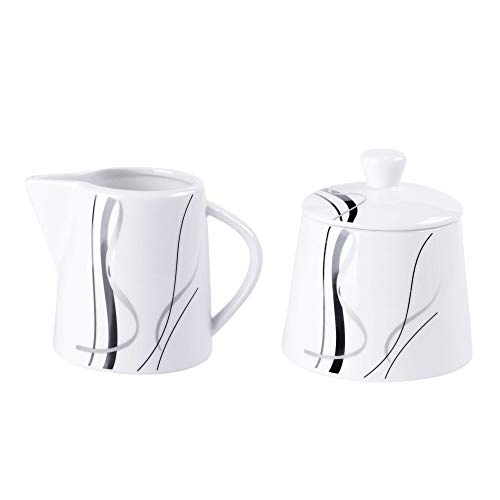 VEWEET, Serie 'Fiona' 2-teilig Porzellan Milchkännchen und Zuckerbehälter Set, 250 ml Zuckerdose mit eine Deckel, 180 ml Milchkännchen, Milch- und Zuckerset | Ergänzung zum Tafelservice 'Fiona'