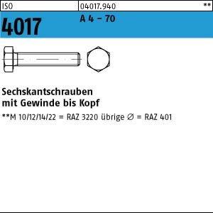 ISO 4017 A 4 - 70 Sechskantschrauben mit Gewinde bis Kopf - Abmessung: M8x130 (1 Stück)