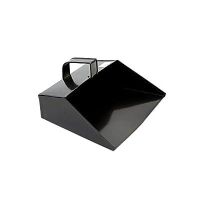 COTTAM ISH00003 Große Metall Reinigung Schaufel - Heavy Duty mit Kapuze Staubwanne 279 mm/11 Zoll und Griff für Haushalt/Garten/Handel verwenden, Schwarz