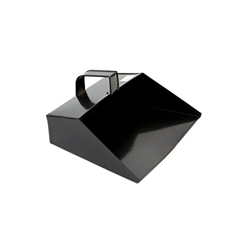 COTTAM ISH00003 Large Heavy Hooded Metal Dustpan With Handle - Black