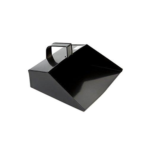 COTTAM ISH00003 Große Metall Reinigung Schaufel - Heavy Duty mit Kapuze Staubwanne 279mm/11 Zoll mit Griff für Haushalt/Garten/Handel verwenden Schwarz