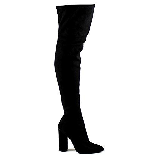 Damen Strecken Tailliert Spitze Block Ferse Mode Oberschenkel Hoch Stiefel Schwarz Suede