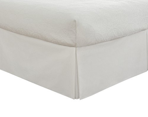Lux Hotel Bedding Tailored Bed Skirt, Classic 14 Drop Length, Pleated Styling, Twin, White by Lux Hotel Pleated Drop