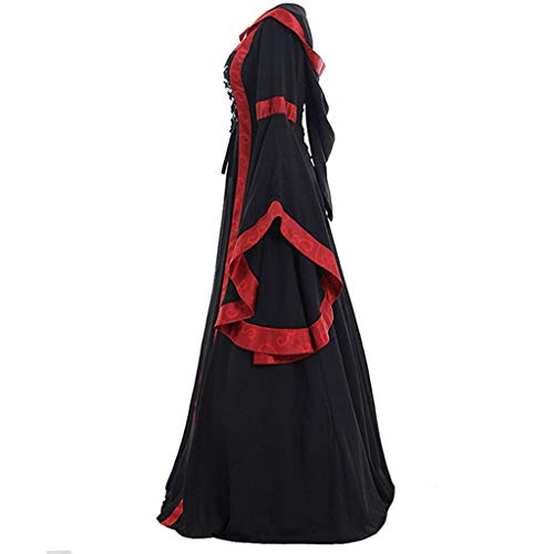 Vampir Kostüm Steampunk - Daygeve Retro Vintage Karneval Gothic Steampunk Styles Princess Cosplay Party Vampir Kostüm, Damen Vintage Celtic Mittelalter bodenlangen Renaissance Gothic Cosplay Kleid