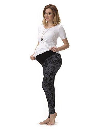 Umstand Hose Umstandshose Muster Leggings Leggins lang gekämmte Baumwolle Muster-8 L