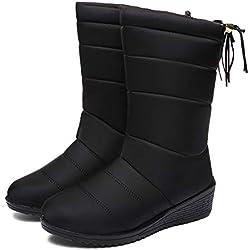 Botas de Nieve Zapatos Mujer,Popoti Botas de Nieve Calientes Botines Forradas Cortas Cuña Boots Medias Borla Zapatos Invierno Outdoor Botines (Negro-A, 41)