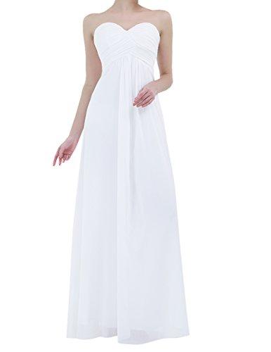 iiniim Vestido de Ceremonia para Mujer Vestido Largo Chiffón Elegante Vestido de Dama de Honor de la Novia Boda Cóctel Fiesta Blanco 38