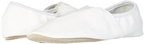 Fusoliera 1030Ginnastica Sport Danza schläppchen cromato suola in pelle con 2inserti in gomma, bianco, 42 UE Bianco