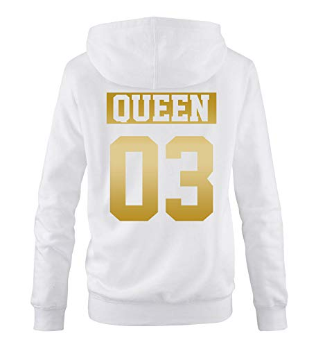 Comedy Shirts - Queen 03 - NEGATIV - Damen Hoodie - Weiss/Gold - Gr. XL