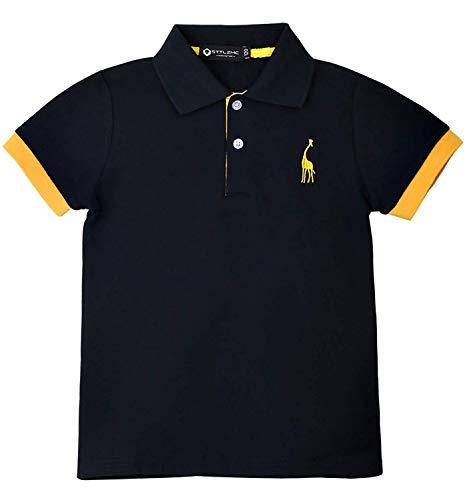 STTLZMC Polo Bambino Basic Manica Corta Semplice Giraffa Ricamo Cotone Casual T Shirt