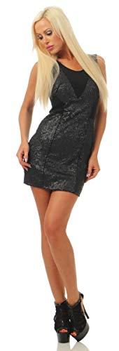 OSAB-Fashion 5709 Damen Minikleid Kleid Party Ärmelloses Pailletten Cocktailkleid Glanz Club Dress (schwarz, S-34)