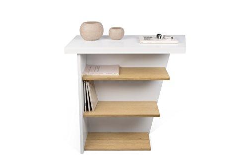 Temahome pisa consolle, legno, bianco/rovere, 80x38x80 cm