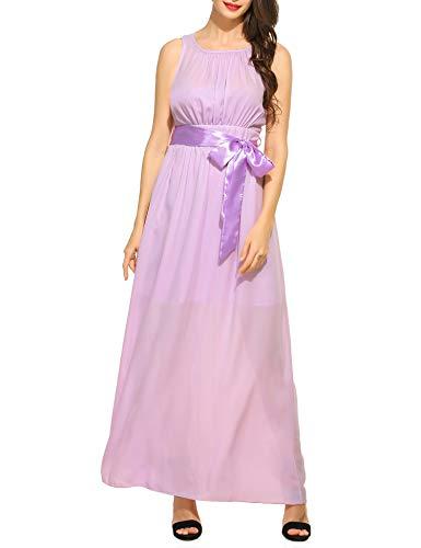 Beyove Damen Renaissance Maxikleid Falten Empire Lang Kleid Stretch Tailliert Kurzarm/Langarm Herbst (EU 38(Herstellergröße: M), B+Lila)
