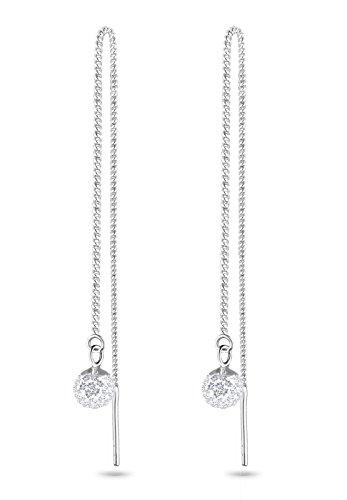 Elli Damen Schmuck Ohrringe Durchzieher Kugeln Kette Funkelnd Silber 925 Swarovski® Kristalle