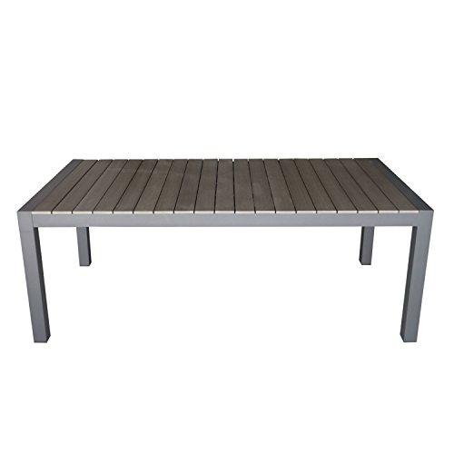 Wohaga Aluminium Gartentisch Ausziehbar 205/275x100cm mit Polywood-Tischplatte Gartenmöbel Grau