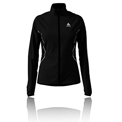Odlo Damen Jacket ZEROWEIGHT Windproof WARM Jacke, Black - Reflective Print FW19, M