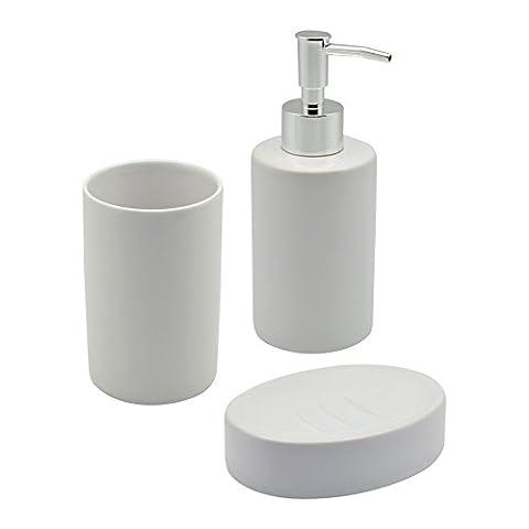 Distributeur à pompe de savon pour salle de bain / Vaisselle&porte- brosse à dents +gobeletcollection 3 Pièces. Blanc