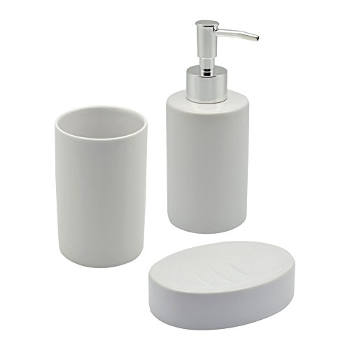 harbour housewares glazed white ceramic 3 piece bathroom set including soap dispenser soap dish and toothbrush tumbler
