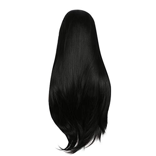 SOMESUN Europäische Und Amerikanische Faser Chemische Spitze Vorne Schwarz Lange Glatte Haare Perücke Perücke Tägliche Party Bankett Gewebt Handgefertigt 24 Zoll