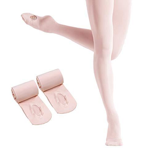 SINOPHANT 2 Paar ultraweiche Ballett-Ballett-Strumpfhose mit Löchern, Dance Cabrio-Ballett-Strumpfhose für Mädchen (2 Paar Pink, Größe XL 12-16 Jahre)