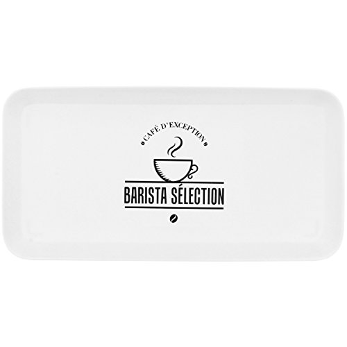 Promobo - Plateau De Service Design Barista Blanc Rectangle 30 x 15 cm