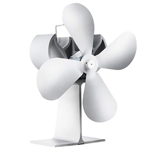 Fenteer Hitzebetriebener 4 Flügel Ventilator Ofenventilator für Holzofen Kamin Öfen - Silber