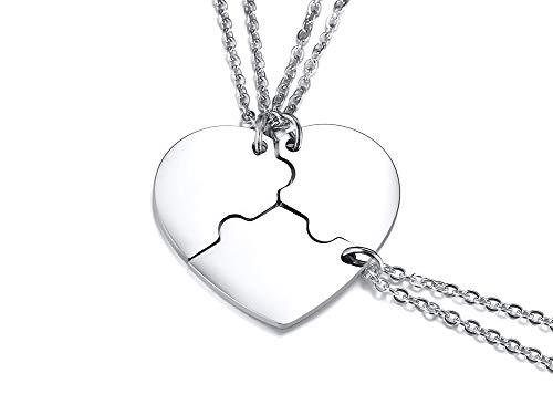 PJ JEWELLERY Personalisierte benutzerdefinierte Edelstahl passende Herz Puzzle 3 Stück Freundschaft Halskette Set für 3 für besten Freund oder Schwestern (Halskette Herz Puzzle-stück)