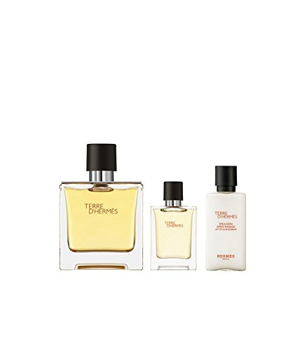 Hermes Terre d'Hermes 75ml Parfum Spray + 12,5ml Parfum Miniatur + 40ml After-shave Balm im Set