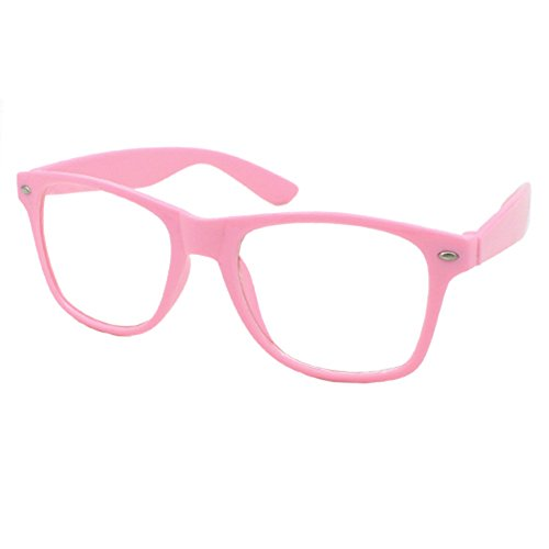 Chic Kostüm Geek - Nerd Brille Klarglas Geek Glasses Herren + Damen 80er Jahre Geek Fashion Brille (Rosa)