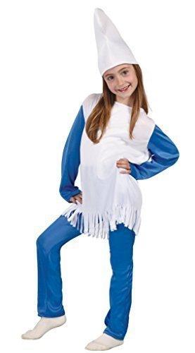 Mädchen Kostüm Schlumpf (Mädchen Blau weiß Schlumpf Gnome Buch Tag Woche Verkleidung Kleid Kostüm Outfit 5-12 jahre - Blau - Blau, Mädchen, EU 140-152,)
