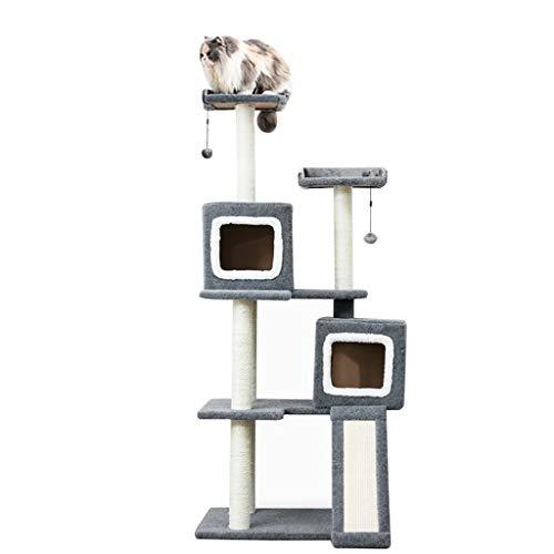 Cat Klettergerüst Haustier Katze Klettergerüst Einfache Kratzbaum Sisalsäule Cat Frame Cat Entertainment Center Dekoration (Color : Gray, Size : 46 * 74 * 165cm)