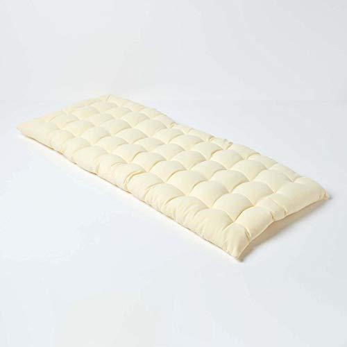 Homescapes 2er Bankauflage aus 100% Baumwolle, creme 108 x 42 x 5cm, Bequeme Sitzkissen Bank und Gartenbank Auflage hochwertige einfarbige Polsterauflage für Gartenmöbel