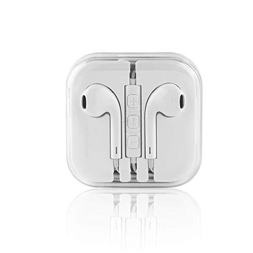 Cavo auricolari, cuffie in-ear stereo con microfono e telecomando completamente compatibile con per iPhone 6s 6 5s 4S Plus Android Galaxy Edge S8 S7 S6 S5 S4 Note 1 2 3 4 7 (bianco 1 confezione)