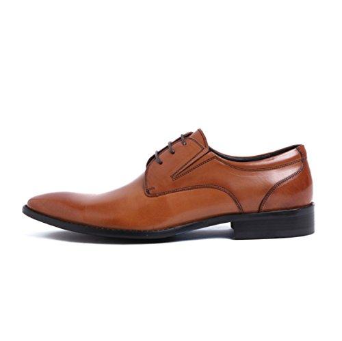 LYZGF Hommes Messieurs Affaires Loisirs Mode Chaussures En Cuir Pointues Résistant à Lusure Brown