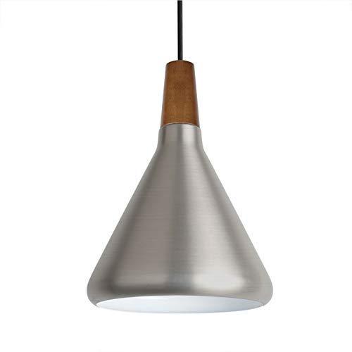 Diolumia - Suspension Conique en Métal Lisse - Style Industriel - Douille E27 Max.60W- Diamètre 18cm - Eclairage de plafond - Lampe suspendue Restaurant, salle à manger, Câble ajustable - Argenté
