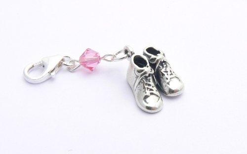 Cadeau de baptême filles - Breloque Charm bébé Chaussures - Argent Fin