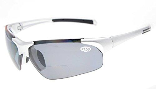 Eyekepper TR90 Unbreakable Sport Polycarbonat Polarisierte Halbrandlose Bifokale Sonnenbrille Baseball Laufen Angeln Fahren Golf Softball Wandern Silberrahmen Graue Linse +3.0