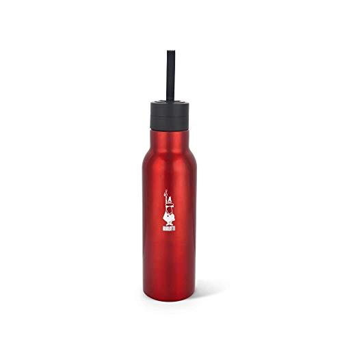 Bialetti To Go! Bottiglia Termica (con doppia parete), mantiene il caldo per 12 h e il freddo per 24 h, capacità 500 ml, Acciaio, Red