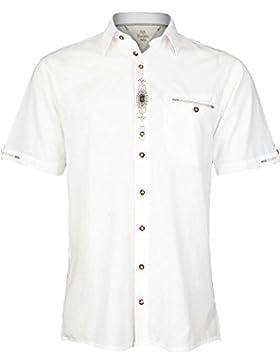 OS Trachten Herren Trachten Hemd Regular Fit Kurzarm Weiß, 01-Weiß,