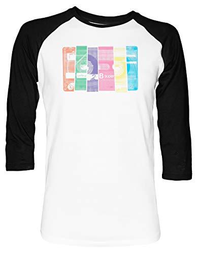 Mischen Band 10 Unisex Baseball T-Shirt 2/3 Ärmel Herren Damen Weiß Schwarz