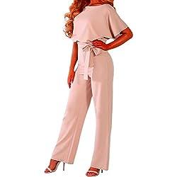 emmarcon Combinaison Longue Jumpsuit élégante Robe de cérémonie Femme Manches Courtes Chauve-Souris - - 44/46 FR/X-Large