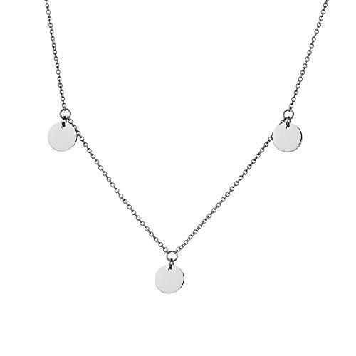 URBANHELDEN - Edelstahl Damen Kette Münzen - Halskette Edelstahlkette mit runden Anhängern - Festival Boho Schmuck - Geometrisches Design drei Plättchen Silber
