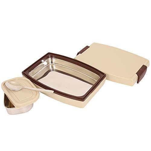 Jaypee Plus Durosteel Plastic Lunch Box Set, 900ml, 3-Pieces, Beige