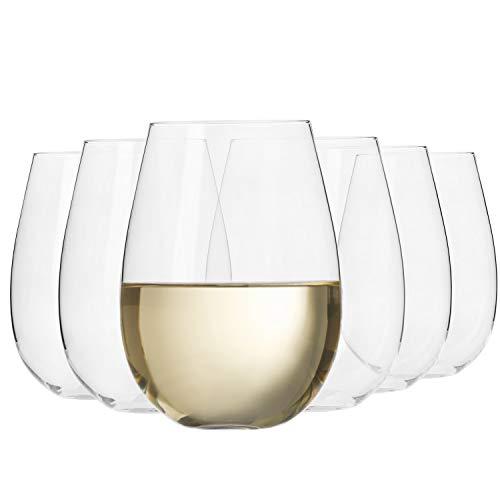Krosno Große Weiß-Weingläser ohne Stiel| Set von 6 | 500 ML | Harmony Kollektion | Perfekt für Zuhause, Restaurants und Partys | Spülmaschinenfest