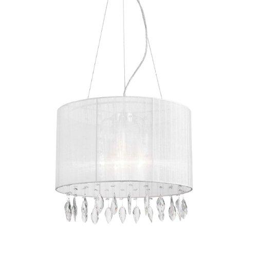Lampadario circolare a 5 luci sospensione con paralume bianco e cristalli
