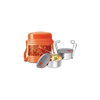 Milton Vector Deluxe 2  Plastic Leak Lock Tiffin Box Set, 3-Pieces, Orange