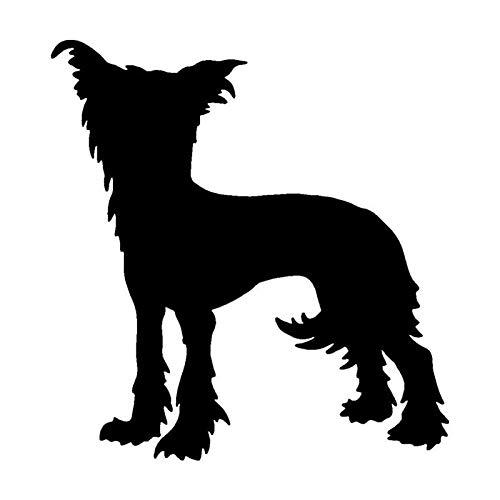 JXLK 11,9 * 12,7 CM Chinese Crested Dog Auto Aufkleber Lustige Vinyl Aufkleber Auto Styling Stoßstange Zubehör Schwarz -