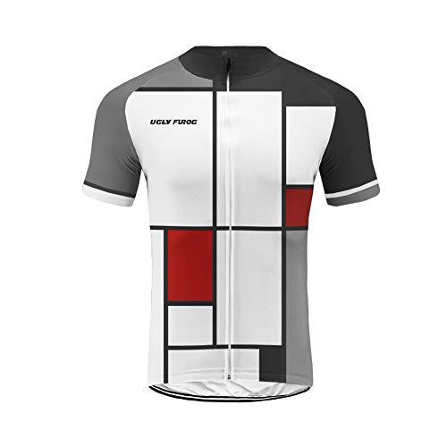Uglyfrog Promi Plaid-Malerei Design T-Shirt Fahrrad Trikots Geschenke für Herren Radfahrer Mountain Bike MTB BMX Biker Rennrad Tour Outdoor Freeride Trail Cross -